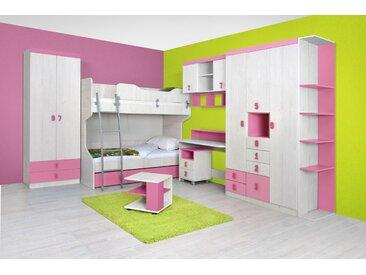 Chambre d'enfant complète - Set E Luis, 12 pièces, couleur : chêne blanc / rose