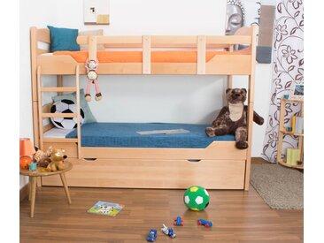 Lits superposés / lits superposés Easy Premium Line K13/h avec canapé et 2 panneaux de recouvrement, tête et pied de lit arrondis, hêtre massif nature - Dimensions : 90 x 200 cm, divisible