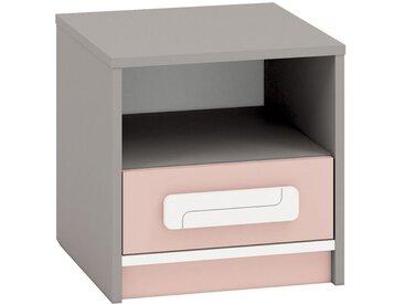 Chambre d´enfants - Table de nuit Renton 13, Couleur: Rose Poudré / Blanc / Gris Platine - Dimensions: 40 x 40 x 40 cm (H x l x p), avec 1 porte et 1 compartiment