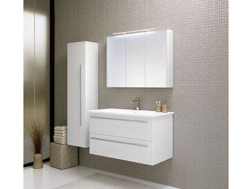 Meubles de salle de bains - Set H Bidar, 3 pièces avec lavabo, Couleur : Blanc Brillant