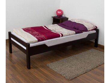 Lit simple Easy Premium Line K1/1n, bois de hêtre massif marron chocolat - Dimensions : 90 x 190 cm
