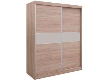Armoire à portes coulissantes / armoire Bermeo 05, couleur : brun chêne / crème - 220 x 180 x 65 cm (h x l x p)