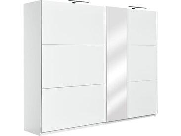 Armoire à portes coulissantes / armoire Sabadell 14, couleur : blanc / blanc brillant - 222 x 269 x 64 cm (H x L x P)