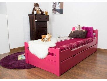 Lit enfant / lit de jeunesse Easy Premium Line K1/2n avec 2 tiroirs et 2 panneaux de couverture inclus, 90 x 200 cm en bois de hêtre massif rose