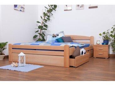 Lit d´adolescents Easy Premium Line K4 incl. 2 tiroirs et un panneau de masquage, 180x200 cm en hêtre massif naturel