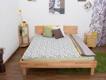 Lit futon / lit en bois massif Wooden Nature 02 cœur de hêtre huilé - Dimensions du couchage 160 x 200 cm