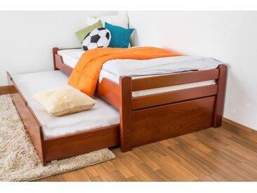 Lit enfant / lit de jeunesse Easy Premium Line K1/1h avec 2 couchettes et 2 panneaux de couverture inclus, 90 x 200 cm en bois de hêtre massif couleur cerisier