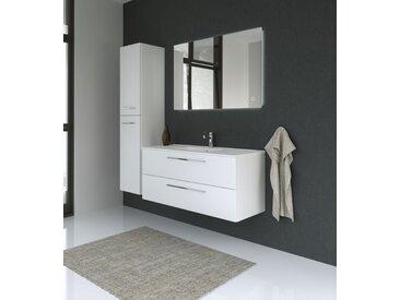 Meubles de salle de bains - Ensemble BV Rajkot, 3 pièces avec lavabo, Couleur : Blanc Brillant