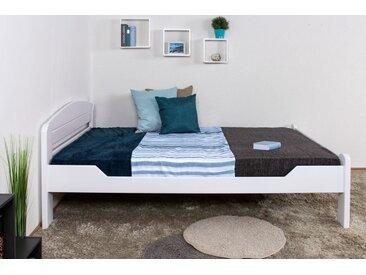 Lit de jeunesse Easy Premium Line ®' K5, 140 x 200 cm bois de hêtre massif laqué blanc