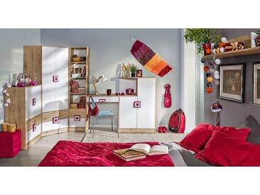 Chambre d'enfant complète - Set C Fabian, 6 pièces, couleur : chêne brun clair / blanc / rose