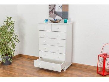 Commode en bois de pin massif blanc « Junco » 134 – Dimensions: 118 x 80 x 42 cm