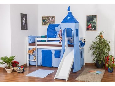 Lit pour enfants / lit mezzanine ANDI hêtre massif laqué blanc avec toboggan et tour inclu sommier déroulable - 90 x 200 cm