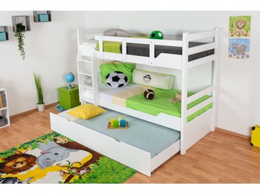 Lits superposés / lits superposés Easy Premium Line K12/h avec canapé et 2 panneaux de recouvrement, tête et pied de lit droits, hêtre massif blanc - 90 x 200 cm (L x l), divisible