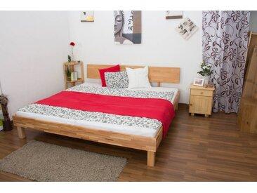 Lit futon en bois de coeur dhêtre massif huilée Wooden Nature 02, couchage 200 x 200 cm