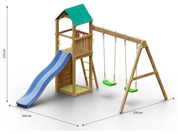 Tour de jeux pour enfants / aire de jeux avec mur descalade, double balançoire, bac à sable et toboggan à vagues FSC®.