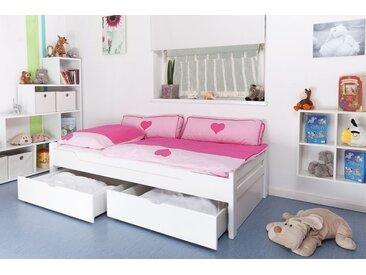 Lit enfant / jeunesse Easy Premium Line K1/1n avec 2 tiroirs et 2 panneaux de couverture inclus, 90 x 200 cm en bois de hêtre massif laqué blanc