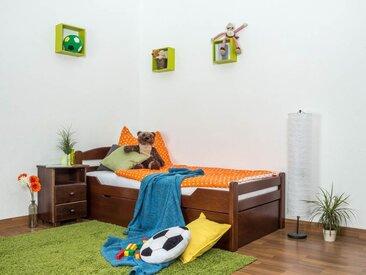 Lit enfant / lit de jeunesse Easy Premium Line K1/2h avec 2 couchettes et 2 panneaux de couverture inclus, 90 x 200 cm en bois de hêtre massif laqué brun foncé