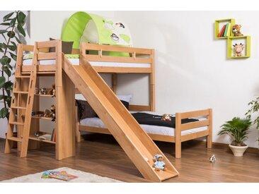 Lit pour enfants / lit superposé Pauli hêtre naturel massif avec étagère et toboggan, avec sommier déroulable - 90x200 cm