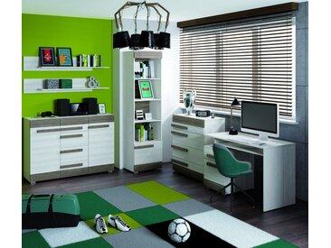 Set de chambre pour jeunes F Knoxville, 6 pièces, couleur : blanc de pin / gris