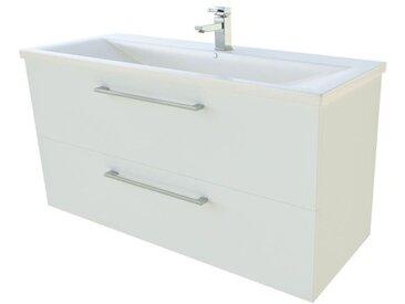 Meuble lavabo Nadiad 28, Couleur : Blanc brillant – 50 x 101 x 39 cm (H x l x p)