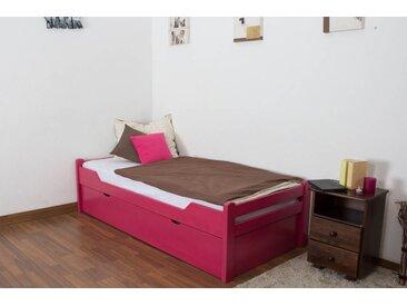 Lit enfant / lit de jeunesse Easy Premium Line K1/1h avec 2 couchettes et 2 panneaux de couverture inclus, 90 x 200 cm en bois de hêtre massif rose
