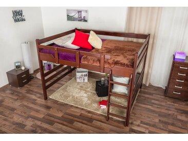 Lit mezzanine pour adultes Easy Premium Line ® K15/n, bois de hêtre massif brun foncé, convertible - Surface de couchage : 160 x 200 cm