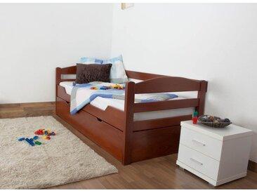 Lit enfant / jeunesse Easy Premium Line ® K1/h/s avec 2 couchettes et 2 panneaux de couverture inclus, 90 x 200 cm en bois de hêtre massif couleur cerisier