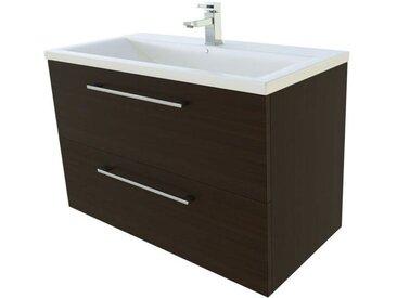 Meuble lavabo Nadiad 26, Couleur : Chêne noir – 50 x 81 x 39 cm (H x l x p)