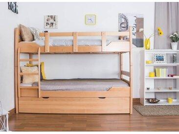 Lit superposé pour adultes Easy Premium Line K12/h avec couchette et 2 panneaux de recouvrement, tête et pied de lit droits, hêtre massif nature - Dimensions : 90 x 200 cm, divisible