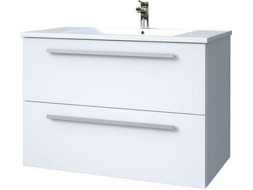 Meuble lavabo Bidar 40, Couleur : Blanc brillant – 50 x 76 x 47 cm (H x l x p)