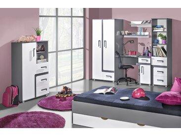 Chambre des jeunes complète - Set A Oskar, 8 pièces, couleur : anthracite / blanc