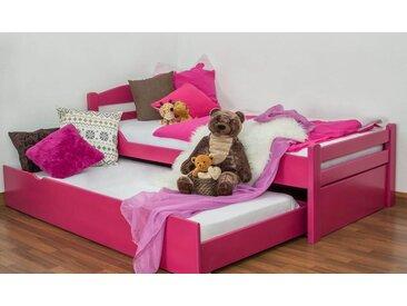 Lit enfant / jeunesse Easy Premium Line ® K1/2h avec 2 couchettes et 2 panneaux de couverture inclus, 90 x 200 cm en bois de hêtre massif laqué rose