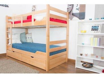 Lit superposé pour adultes Easy Premium Line K12/n avec 2 tiroirs et 2 panneaux de recouvrement, tête et pied de lit droits, hêtre massif nature - dimensions : 90 x 200 cm, divisible