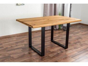 Table à manger Wooden Nature 411 chêne massif, dessus de table rustique - 140 x 90 cm (L x P)