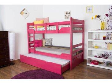 Lit superposé Easy Premium Line K3/h avec couchette et 2 panneaux de masquage, hêtre massif de couleur rose, séparable - Dimensions : 90 x 200 cm
