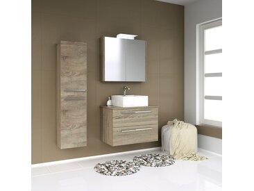 Meubles de salle de bains - Set E Bidar, 3 pièces avec lavabo, Couleur : Chêne