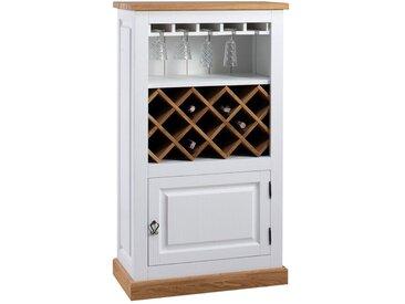 Casier à vin Perdix 12, couleur : chêne / blanc, partiellement massif - 132 x 74 x 42 cm (h x l x p)