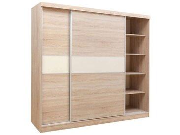 Armoire à portes coulissantes / armoire Bermeo 02, couleur : brun chêne / crème - 220 x 240 x 65 cm (h x l x p)