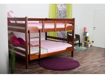 Lits superposés pour adultesEasy Premium Line ® K16/n, tête et pied de lit droits, hêtre bois massif couleur cerisier - surface de couchage : 160 x 200 cm, divisible