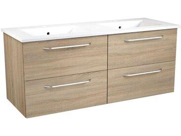 Meuble lavabo Barasat 48, Couleur : Chêne – 50 x 121 x 46 cm (H x l x p)