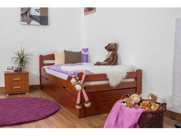 Lit enfant / lit de jeunesse Easy Premium Line K1/2h avec 2 couchettes et 2 panneaux de couverture inclus, 90 x 200 cm en bois de hêtre massif laqué couleur cerisier