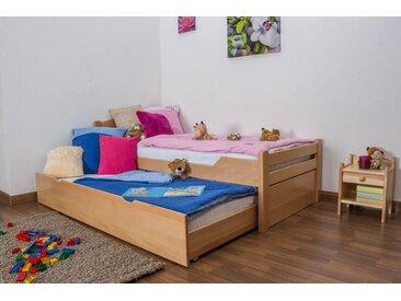 Lit enfant / jeunesse Easy Premium Line ® K1/h Voll avec 2 couchettes et 2 panneaux de couverture inclus, 90 x 200 cm en bois de hêtre massif naturel