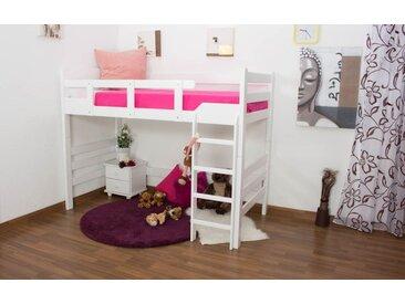LIt Mezzanine / Lit superposé Easy Premium Line K14/n, hêtre blanc massif - Dimensions: 90 x 200 cm