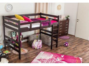 Lit mezzanine pour adolescents Easy Premium Line ® K15/n, bois de hêtre massif marron chocolat, convertible - Surface de couchage : 120 x 200 cm