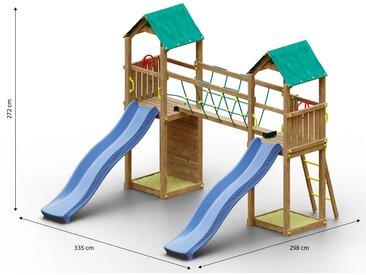 Tour de jeux pour enfants / aire de jeux comprenant 2 tours, un pont de corde, 2 toboggans à vagues, 2 bacs à sable et un mur descalade FSC®.