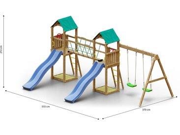Tour de jeux / aire de jeux pour enfants avec double balançoire, 2 toboggans à vagues, 2 tours, 2 bacs à sable et pont de corde FSC®.