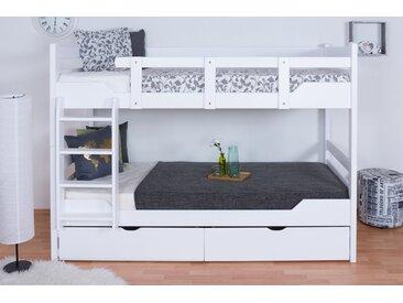 Lit superposé pour adultes Easy Premium Line K12/n avec 2 tiroirs et 2 panneaux de recouvrement, tête et pied de lit droits, hêtre massif blanc - Dimensions : 90 x 200 cm, divisible