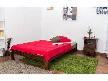 Lit futon bois de pin massif de couleur noyer A10, incl. sommier à lattes – Dimensions : 120 x 200 cm