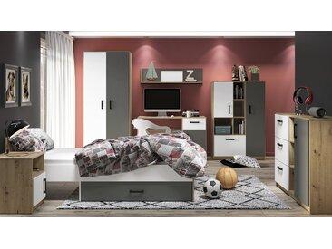 Chambre des jeunes complète - Set A Sallingsund, 7 pièces, couleur : chêne / blanc / anthracite