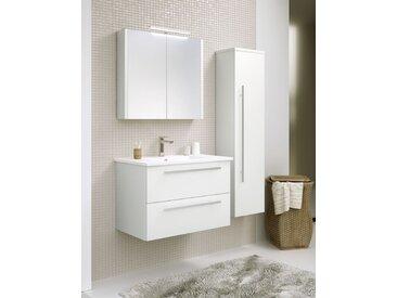 Meubles de salle de bains - Set L Bidar, 3 pièces avec lavabo, Couleur : Blanc Brillant